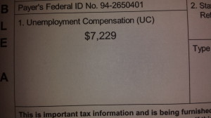 This is a picture of my tax form for 2013 from Unemployment benefits. I got another 8k in 2012.